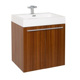 Fresca Alto Teak Modern Bathroom Cabinet w/ Integrated Sink