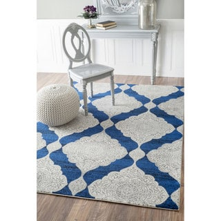nuLOOM Geometric Trellis Fancy Blue Rug (9' x 12')