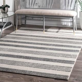 nuLOOM Power-Loomed Geometric Stripes Grey Rug (9' x 12')