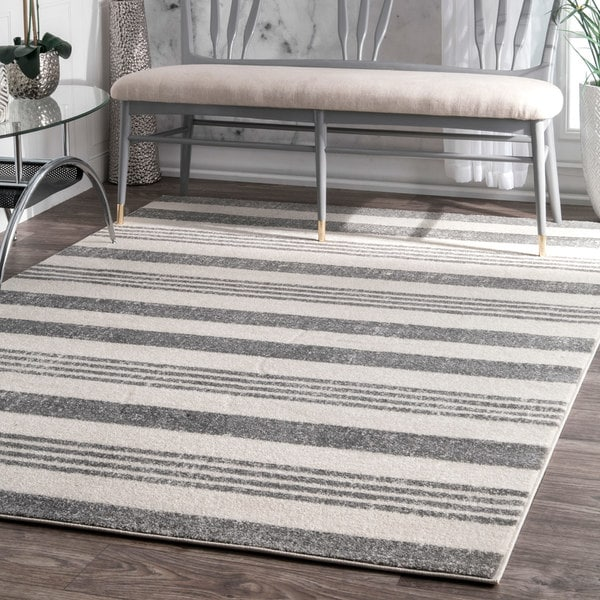 Strick & Bolton Tansey Power-loomed Geometric Stripes Grey Area Rug - 9' x 12'
