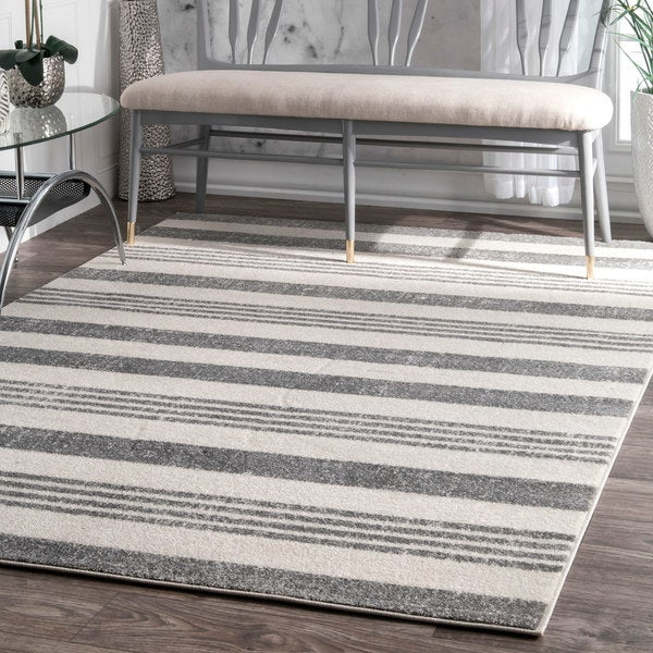 Havenside Home Butler Power-Loomed Geometric Stripes Grey Area Rug - 9' x 12'