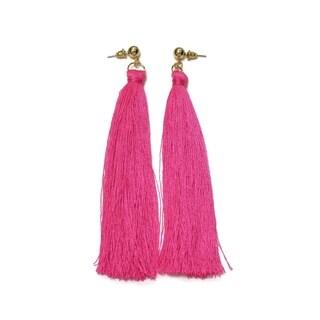 Eternally Haute Hot Pink Tassel Drop Earrings