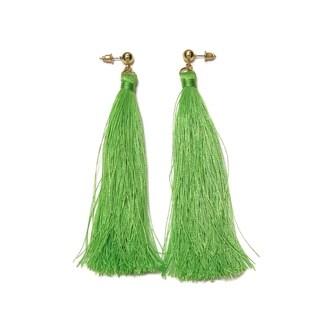 Eternally Haute Green Tassel Drop Earrings