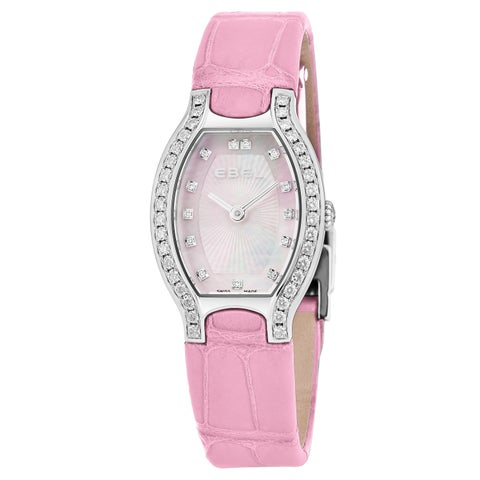 Ebel Women's 'Beluga Tonneau' Pink Mother of Pearl Dial Pink Leather Strap Diamond Swiss Quartz Watch