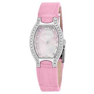 Ebel Women's 1216255 'Beluga Tonneau' Pink Mother of Pearl Dial Pink Leather Strap Diamond Swiss Quartz Watch