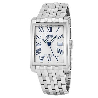 Oris Men's 561 7657 4071 MB 'Rectangular' Silver Dial Stainless Steel Date Swiss Automatic Watch|https://ak1.ostkcdn.com/images/products/17664117/P23874405.jpg?_ostk_perf_=percv&impolicy=medium