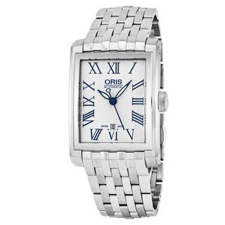 Oris Men's 561 7657 4071 MB 'Rectangular' Silver Dial Stainless Steel Date Swiss Automatic Watch https://ak1.ostkcdn.com/images/products/17664117/P23874405.jpg?impolicy=medium
