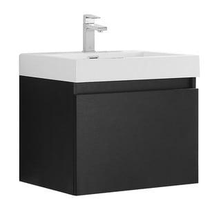 Fresca Nano Black Modern Bathroom Cabinet w/ Integrated Sink