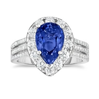 Noray Designs 14K White Gold Tanzanite & Diamond (1.50 Ct, G-H Color, SI2-I1 Clarity) Engagement Ring - Blue