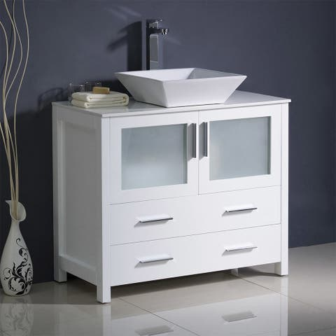 "Fresca Torino 36"" White Modern Bathroom Cabinet w/ Top & Vessel Sink"