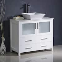 "Fresca Torino 36"" White Modern Bathroom Cabinet w/ Top & Vessel Sink"