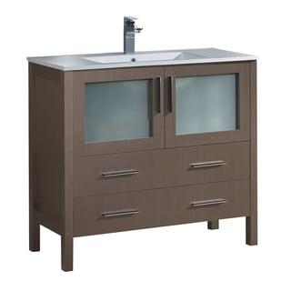 "Fresca Torino 36"" Grey Oak Modern Bathroom Cabinet w/ Integrated Sink"