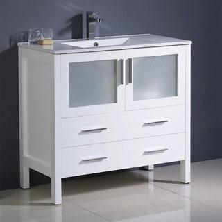 "Fresca Torino 36"" White Modern Bathroom Cabinet w/ Integrated Sink"