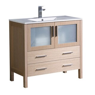 "Fresca Torino 36"" Light Oak Modern Bathroom Cabinet w/ Integrated Sink"