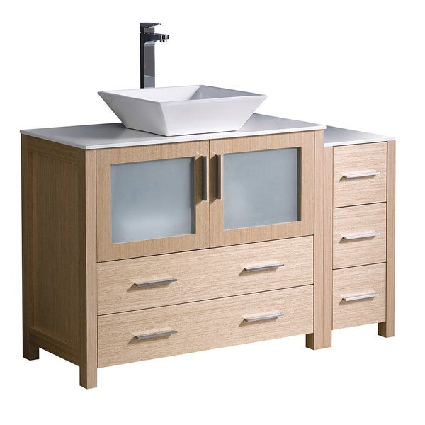 "Shop Fresca Torino 48"" Light Oak Modern Bathroom Cabinets W/ Top & Vessel Sink"