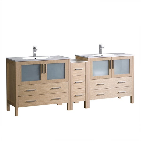 "Shop Fresca Torino 84"" Light Oak Modern Double Sink Bathroom Cabinets W/ Tops & Integrated Sinks"