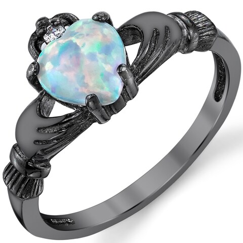 Oliveti Sterling Silver Irish Claddagh Engagement Ring with White Simulated Opal
