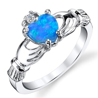 Oliveti Sterling Silver 925 Claddagh Love Ring with Blue Created Opal (More options available)