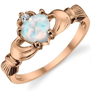 Oliveti Rose Sterling Silver Claddagh Ring Heart Simulated Opal Engagment Wedding Ring - White