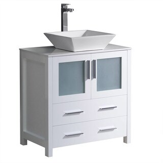 Fresca Torino 30-inch White Modern Bathroom Cabinet with Top and Vessel Sink