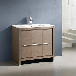 "Fresca Allier 36"" Grey Oak Modern Bathroom Cabinet w/ Sink"