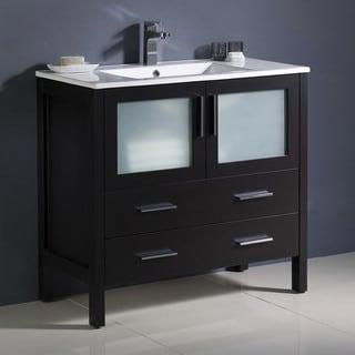 "Fresca Torino 36"" Espresso Modern Bathroom Cabinet w/ Integrated Sink"