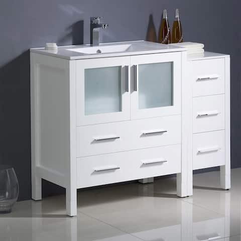 Fresca Torino 42-inch White Modern Bathroom Cabinets