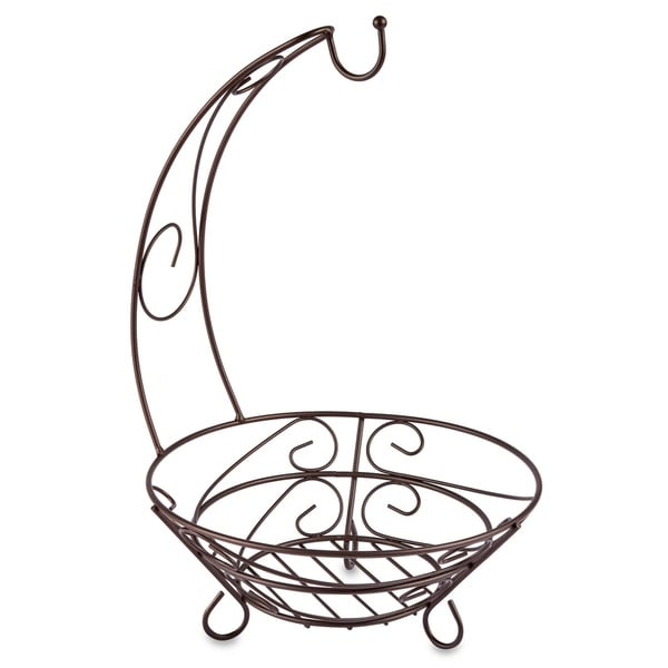 "Sweet Home Collection Scroll Design Bronze Fruit Basket with Banana Hook (5""x5""x8"")"