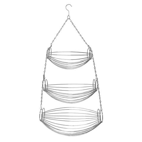 Sweet Home Collection 3 Tier Oval Hammock Chrome Hanging Basket