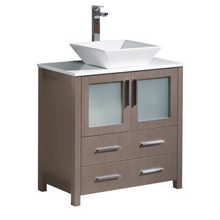 Fresca Torino Modern Grey Oak 30-inch Bathroom Cabinet with Top and Vessel Sink