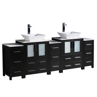 """Fresca Torino 84"""" Espresso Modern Double Sink Bathroom Cabinets w/ Tops & Vessel Sinks"""