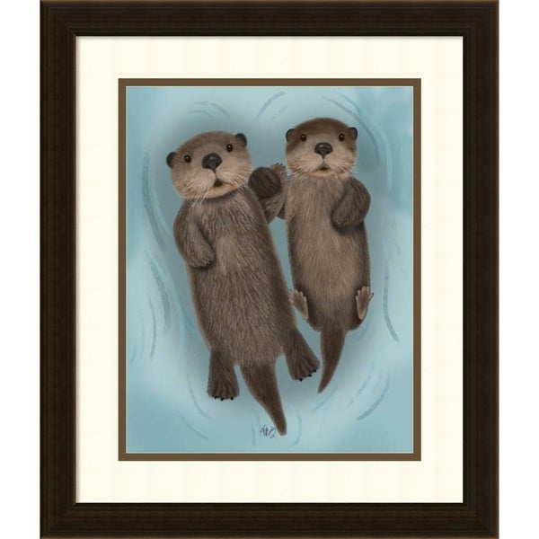 Framed Art Print \'Otters Holding Hands\' by Fab Funky 17 x 20-inch ...