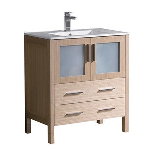 Fresca Torino 30-inch Light Oak Bathroom Cabinet with Integrated Sink