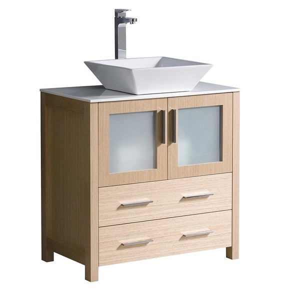 "Shop Fresca Torino 30"" Light Oak Modern Bathroom Cabinet W/ Top & Vessel Sink"