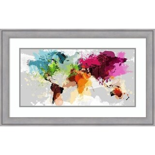 Framed Art Print 'Colourful World Map' by Graphinc 33 x 21-inch