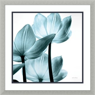 Framed Art Print 'Translucent Tulips III Sq Aqua Crop' by Debra Van Swearingen 22 x 22-inch
