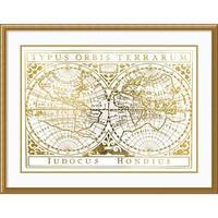Framed Art Print 'Gold Foil Vintage Map' by Vision Studio 41 x 31-inch
