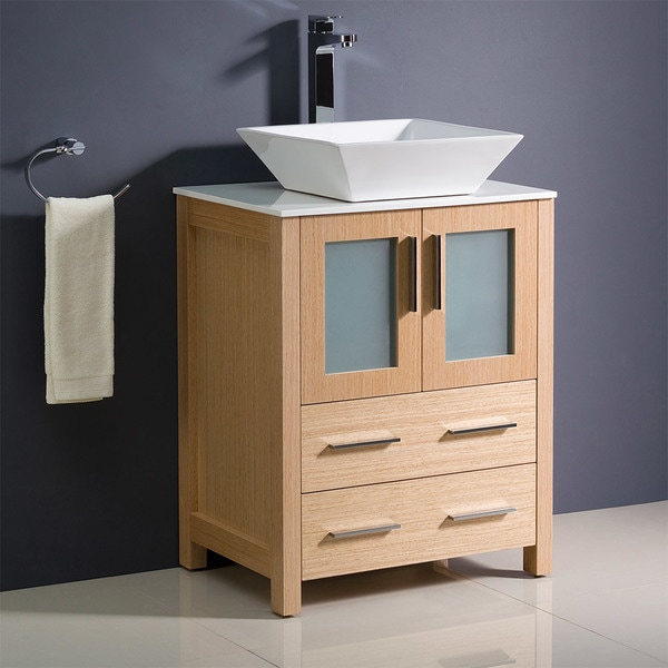 Fresca Torino 24-inch Light Oak Modern Bathroom Cabinet with Top and Vessel Sink