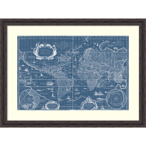 Shop Framed Art Print \'Blueprint World Map\' by Willem Blaeu 40 x 30 ...