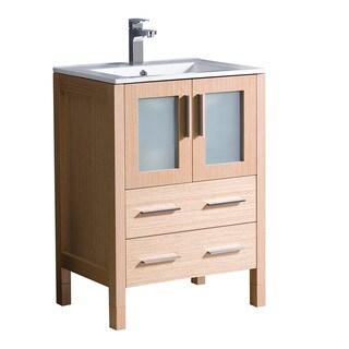 """Fresca Torino 24"""" Light Oak Modern Bathroom Cabinet w/ Integrated Sink"""