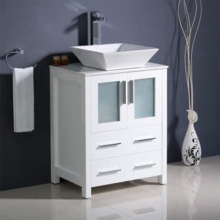 fresca torino 24 inch white modern bathroom cabinet with top and vessel sink - Modern White Bathroom Cabinets