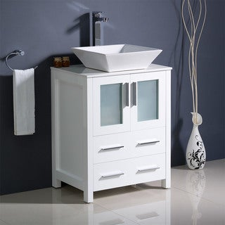 Fresca Torino 24 Inch White Modern Bathroom Cabinet With Top And Vessel Sink