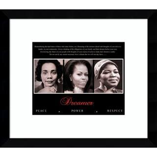Framed Art Print 'Dreamer (Trio): Peace, Power, Respect' 15 x 13-inch