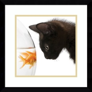 Framed Art Print 'Penny for Your Thoughts Cat' 17 x 17-inch