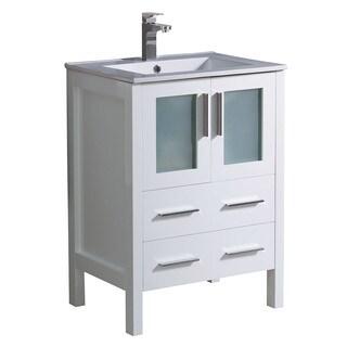 "Fresca Torino 24"" White Modern Bathroom Cabinet w/ Top & Integrated Sink"