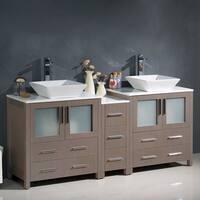 Fresca Torino Grey Oak 72-inch Modern Double-sink Bathroom Cabinet