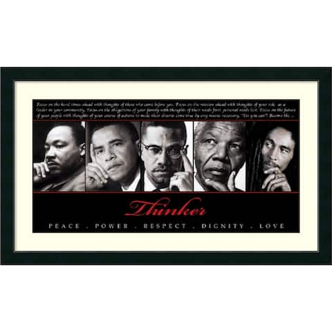 Framed Print 'Thinker Peace, Power, Respect, Dignity, Love'