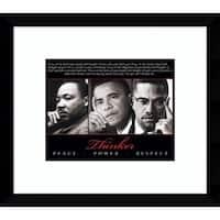 Framed Art Print 'Thinker (Trio) - Peace, Power, Respect'