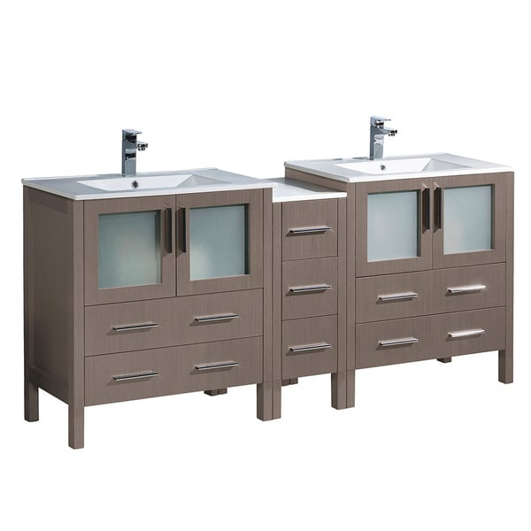 Fresca Torino Grey Oak Finish Rubberwood 72-inch Modern Double Sink Bathroom Cabinet
