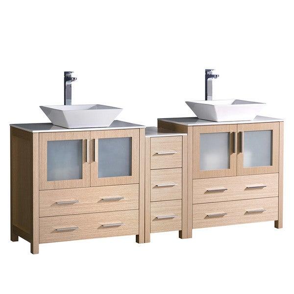 Fresca Torino 72-inch Light Oak Modern Double Sink Bathroom Cabinets with Tops and Vessel Sinks